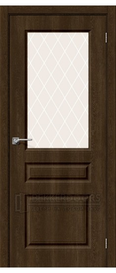 Дверь Скинни-15 ПО Dark Barnwood White Сrystal